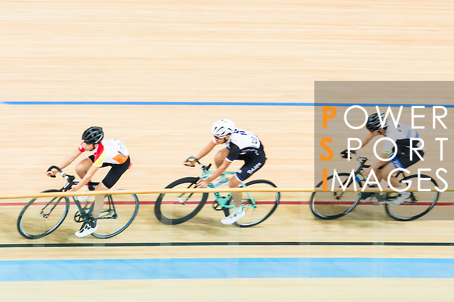 (L-R) John Nicolas Plesich of Omicron, Lee Chun Man of IND and Chiu Lok Ngan of CMS compete during the Open 30km Points Race at the Hong Kong Track Cycling Race 2017 Series 5 on 18 February 2017 at the Hong Kong Velodrome in Hong Kong, China. Photo by Marcio Rodrigo Machado / Power Sport Images