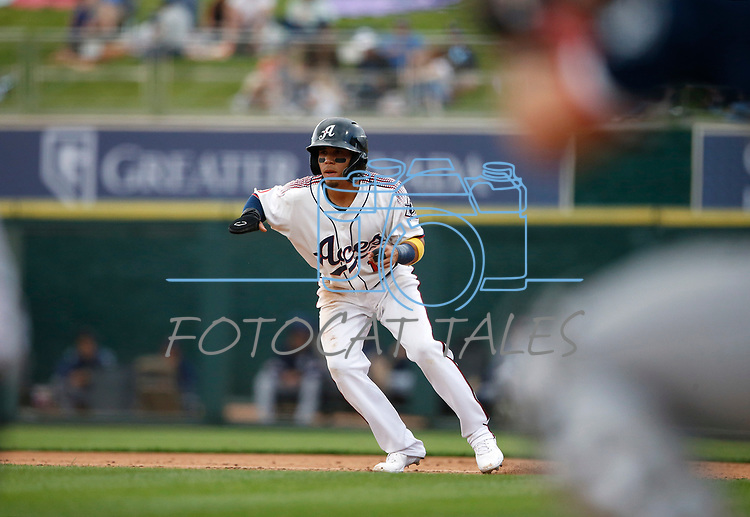 Reno Aces' Jancarlos Cinton runs against the Tacoma Rainiers, in Reno, Nev., on Friday, May 28, 2021. <br /> Photo by Cathleen Allison