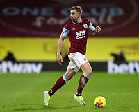 17th February 2021; Turf Moor, Burnley, Lanchashire, England; English Premier League Football, Burnley versus Fulham; Charlie Taylor of Burnley looks up for a team mate before passing the ball