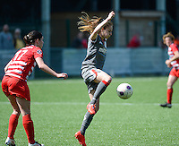 20140419 - ANTWERPEN , BELGIUM : Standard's Tessa Wullaert (right) pictured with Antwerp Annelies Van Loock (left)  during the soccer match between the women teams of RAFC Antwerp Ladies  and Standard Femina  , on the 24th matchday of the BeNeleague competition on Saturday 19 April 2014 in Deurne .  PHOTO DAVID CATRY