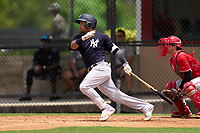 New York Yankees Everson Pereira (38) bats during an Extended Spring Training game against the Philadelphia Phillies on June 22, 2021 at the Carpenter Complex in Clearwater, Florida. (Mike Janes/Four Seam Images)