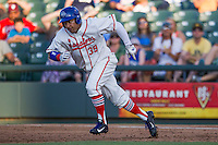Wearing an Austin Senators throwback uniform, Round Rock Express designated hitter Manny Ramirez (39) runs to second base during the Pacific Coast League baseball game against the Oklahoma City RedHawks on July 9, 2013 at the Dell Diamond in Round Rock, Texas. Round Rock defeated Oklahoma City 11-8. (Andrew Woolley/Four Seam Images)