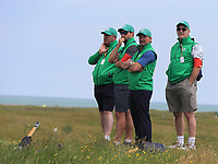 13th July 2021; The Royal St. George's Golf Club, Sandwich, Kent, England; The 149th Open Golf Championship, practice day; Marshals look on from a vantage point on the 9th hole