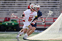 College Park, MD - February 15, 2020: Maryland Terrapins attack Anthony DeMaio (16) in action during the game between Penn and Maryland at  Capital One Field at Maryland Stadium in College Park, MD.  (Photo by Elliott Brown/Media Images International)