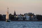 Schooner Pride Tallship off the Charleston Battery in South Carolina Sunset