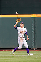 LSU Tigers outfielder Andrew Stevenson (6) makes a running catch against the TCU Horned Frogs in the NCAA College World Series on June 14, 2015 at TD Ameritrade Park in Omaha, Nebraska. TCU defeated LSU 10-3. (Andrew Woolley/Four Seam Images)