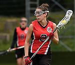 GER - Hannover, Germany, May 30: During the Women Lacrosse Playoffs 2015 match between DHC Hannover (black) and SC Frankfurt 1880 (red) on May 30, 2015 at Deutscher Hockey-Club Hannover e.V. in Hannover, Germany. Final score 23:3. (Photo by Dirk Markgraf / www.265-images.com) *** Local caption *** Elisabeth Benazir Lippert #2 of SC 1880 Frankfurt
