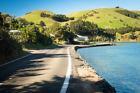 Scenic coastal road on Otago Peninsula, Coastal Otago, East Coast, New Zealand