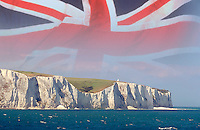 British Union Jack Flag over the white cliffs of Dover
