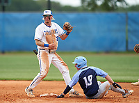 Barron Collier Cougars shortstop Reid Sondermeyer (21) and Brad Hodges (10) look to the ump for the call during the IMG National Classic on March 29, 2021 at IMG Academy in Bradenton, Florida.  (Mike Janes/Four Seam Images)