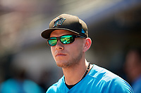 Miami Marlins Matt Snyder in the dugout during an Instructional League game against the Washington Nationals on September 25, 2019 at Roger Dean Chevrolet Stadium in Jupiter, Florida.  (Mike Janes/Four Seam Images)