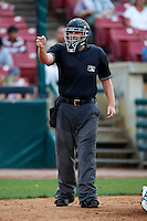 Umpire Ron Teague during a Midwest League game between the Kane County Cougars and Burlington Bees at Fifth Third Bank Ballpark on June 28, 2012 in Geneva, Illinois.  Kane County defeated Burlington 6-5.  (Mike Janes/Four Seam Images)
