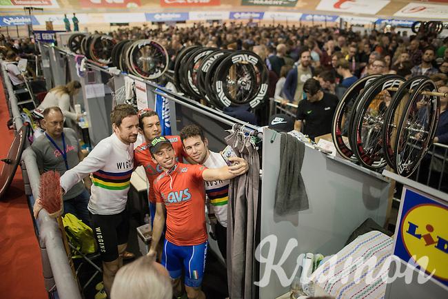 Sir Bradley Wiggins (GBR/Wiggins) & Mark Cavendish (GBR/Dimension Data) taking a selfie with some U23 fans/riders<br /> <br /> 2016 Gent 6<br /> day 5