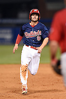 Memphis Redbirds shortstop Pete Kozma (8) running the bases during a game against the Oklahoma City RedHawks on May 23, 2014 at AutoZone Park in Memphis, Tennessee.  Oklahoma City defeated Memphis 12-10.  (Mike Janes/Four Seam Images)
