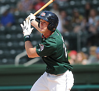 Outfielder Jeremy Hazelbaker (23) of the Greenville Drive, Class A affiliate of the Boston Red Sox, at a game against the Lexington Legends April 25, 2010, at Fluor Field at the West End in Greenville, S.C. Photo by: Tom Priddy/Four Seam Images