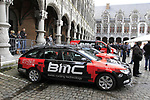 BMC Racing Team riders arrive at the team presentations at the Palais Provincial in Liege city centre before the 98th edition of Liege-Bastogne-Liege 2012. 21st April 2012.  <br /> (Photo by Eoin Clarke/NEWSFILE).