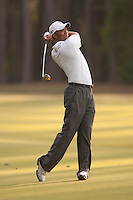 PONTE VEDRA BEACH, FL - MAY 6: Tiger Woods follows through after hitting his shot on the 11th fairway during his practice round on Wednesday, May 6, 2009 for the Players Championship, beginning on Thursday, at TPC Sawgrass in Ponte Vedra Beach, Florida.