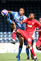 Chris Zebroski of Wycombe Wanderers, former Plymouth and Millwall player tries to control the ball under pressure from Southend's Osei Sankofa during Wycombe Wanderers vs Southend United, Friendly Match Football at Adams Park on 2nd August 2008