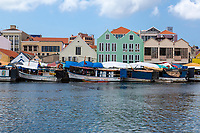 Willemstad, Curacao, Lesser Antilles.  Boats Lined Up at the Floating Market.