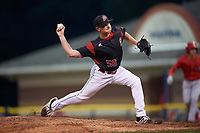 Batavia Muckdogs relief pitcher Tyler Frohwirth (56) delivers a pitch during a game against the Williamsport Crosscutters on August 3, 2017 at Dwyer Stadium in Batavia, New York.  Williamsport defeated Batavia 2-1.  (Mike Janes/Four Seam Images)