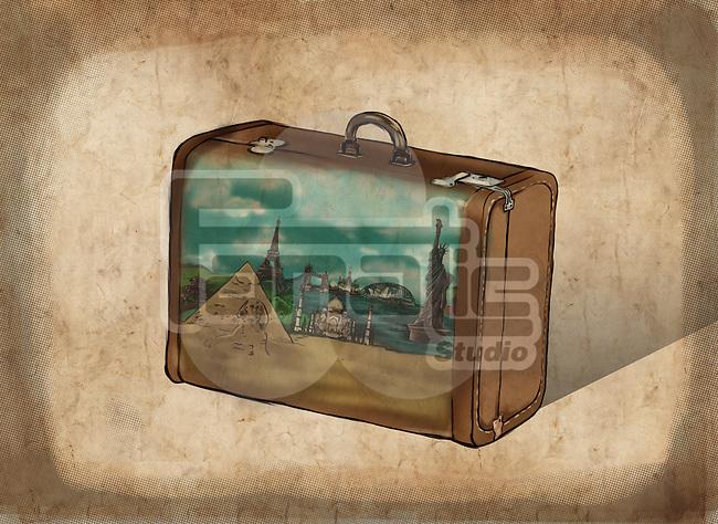 Illustrative image of suitcase representing travel destinations