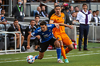 SAN JOSE, CA - JULY 24: Shea Salinas #6 of the San Jose Earthquakes battles for the ball with Zarek Valentin #4 of the Houston Dynamo during a game between San Jose Earthquakes and Houston Dynamo at PayPal Park on July 24, 2021 in San Jose, California.