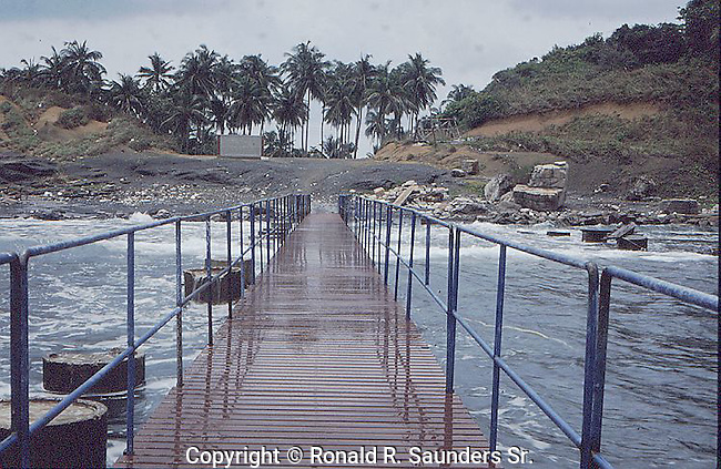 WALKWAY OVER INLET ON SMALL ISLAND IN THAILAND'S PHANG NGA BAY