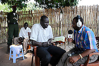 SOUTH SUDAN  Bahr al Ghazal region , Lakes State, town Cuibet, catholic radio Good News / SUED-SUDAN  Bahr el Ghazal region , Lakes State, Cuibet , Fr. Don Bosco Ochieng Onyalla, <br /> Leiter der Radiostation Good News Radio  im Interview mit Isak Myom Malek DC Distrikt Kollektor von Cuibet