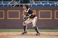 North Carolina Central Eagles catcher Chet Sikes (7) waits for a throw at home plate during the game against the North Carolina A&T Aggies at Durham Athletic Park on April 10, 2021 in Durham, North Carolina. (Brian Westerholt/Four Seam Images)