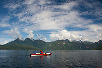 Kayakers on Hotham Sound, Sunshine Coast, British Columbia, Canada