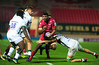 Tevita Ratuva of Scarlets in action during the European Rugby Challenge Cup Round 1 match between the Scarlets and London Irish at Parc Y Scarlets in Llanelli, Wales, UK. Saturday 16th November 2019