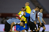 17th November 2020; Centenario Stadium, Montevideo, Uruguay; Qatar 2022 qualifiers; Uruguay versus Brazil; Richarlison and Gabriel Jesus of Brazil celebrate their goal scored by Arthur in the 34th minute 0-1