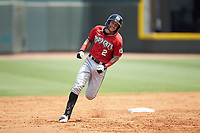 Brice Turang (2) of the Carolina Mudcats hustles towards third base against the Winston-Salem Dash at BB&T Ballpark on August 4, 2019 in Winston-Salem, North Carolina. The Dash defeated the Mudcats 7-5. (Brian Westerholt/Four Seam Images)