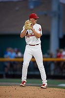 Johnson City Cardinals relief pitcher Jacob Sylvester (30) gets ready to deliver a pitch during a game against the Danville Braves on July 28, 2018 at TVA Credit Union Ballpark in Johnson City, Tennessee.  Danville defeated Johnson City 7-4.  (Mike Janes/Four Seam Images)