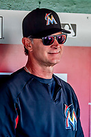 26 September 2018: Miami Marlins Manager Don Mattingly chats with the media in the dugout prior to a game against the Washington Nationals at Nationals Park in Washington, DC. The Nationals defeated the visiting Marlins 9-3, closing out Washington's 2018 home season. Mandatory Credit: Ed Wolfstein Photo *** RAW (NEF) Image File Available ***