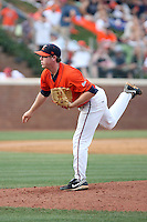 Justin Thompson of the Virginia Cavaliers playing in Game Two of the NCAA Super Regional tournament against the Oklahoma Sooners at Charlottesville, VA - 06/13/2010. Oklahoma defeated Virginia, 10-7, to tie the series after two games.  Photo By Bill Mitchell / Four Seam Images