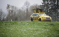 Mavic neutral support car in the snow<br /> <br /> 102nd Liège-Bastogne-Liège 2016
