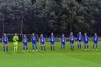 line-up KAA Gent ( Silke Vanwynsberghe (21) , goalkeeper Nicky Evrard (1) , Rkia Mazrouai (2) , Nia Elyn (4) , Emma Van Britsom (6) , Chloe Vande Velde (10) , Lyndsey Van Belle (14) , Lore Jacobs (17) , Lobke Loonen (19) , Bodil Van Den Heuvel (22) , Rania Boutiebi (27) ) pictured before a female soccer game between AA Gent Ladies and SV Zulte-Waregem on the fifth matchday in the 2021 - 2022 season of Belgian Scooore Womens Super League , friday 1 October 2021  in Oostakker , Belgium . PHOTO SPORTPIX | STIJN AUDOOREN