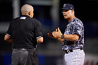 Tampa Yankees manager Jay Bell (40) talks with an umpire during a game against the Bradenton Marauders on April 15, 2017 at George M. Steinbrenner Field in Tampa, Florida.  Tampa defeated Bradenton 3-2.  (Mike Janes/Four Seam Images)