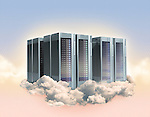 Illustrative image of computer servers on clouds representing cloud computing