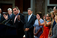 United States Senator Mark Warner (Democrat of Virginia) makes remarks after the vote on the motion to invoke cloture to proceed to the consideration of H.R. 3684, the INVEST in America Act on Capitol Hill in Washington, DC on Wednesday, July 28, 2021. The vote to begin discussion of the bipartisan infrastructure bill agreed to by the White House, was 67 to 32. If passed, the bill would invest close to $1 trillion in roads, bridges, ports and other infrastructure without a major tax increase.<br /> Credit: Rod Lamkey / CNP / MediaPunch