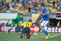 Action photo during the match Brazil vs Ecuador, Corresponding Group -B- America Cup Centenary 2016, at Rose Bowl Stadium<br /> <br /> Foto de accion durante el partido Brasil vs Ecuador, Correspondiante al Grupo -B-  de la Copa America Centenario USA 2016 en el Estadio Rose Bowl, en la foto: (i-d) Enner Valencia de Ecuador y Casemiro de Brasil<br /> <br /> <br /> 04/06/2016/MEXSPORT/Omar Martinez.