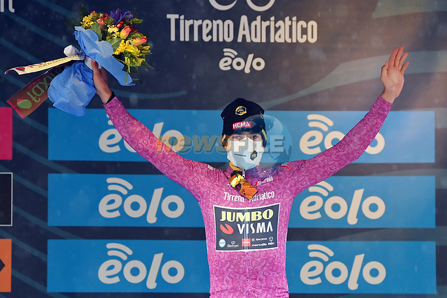 Wout Van Aert (BEL) Team Jumbo-Visma retains the points Maglia Ciclamino at the end of Stage 5 of Tirreno-Adriatico Eolo 2021, running 205km from Castellalto to Castelfidardo, Italy. 14th March 2021. <br /> Photo: LaPresse/Gian Mattia D'Alberto | Cyclefile<br /> <br /> All photos usage must carry mandatory copyright credit (© Cyclefile | LaPresse/Gian Mattia D'Alberto)