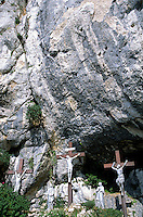 Statues of Jesus Christ on the cross at the Christian pilgrimage site of La Sainte-Baume, the holy cave where Mary Magdelene is said to have retired in penance, Plan-d'Aups-Sainte-Baume, Var, France.