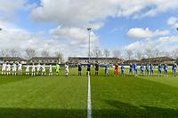line-up Club Brugge YLA ( Nicky Van Den Abbeele (28) , Isabelle Iliano (18) , Frieke Temmerman (17) , Marie Minnaert (13) , Angel Kerkhove (11) , Celien Guns (10) , Elle Decorte (7) , Raquel Viaene (5) , Febe Vanhaecke (3) , goalkeeper Elke Geeraert (25) , Ellen Martens (2) ) , assistant referee Joline Delcroix , referee Bert Verbeke , assistant referee Glenn Lakiere and team KAA Gent ( Chloe Vande Velde (10) , goalkeeper Nicky Evrard (1) , Rkia Mazrouai (2) , Ella Van Kerkhoven (3) , Heleen Jaques (4) , Emma Van Britsom (6) , Jolet Lommen (9) , Jasmien Mathys (12) , Lyndsey Van Belle (14) , Alixe Bosteels (16) , Feli Delacauw (44) ) pictured during a female soccer game between  AA Gent Ladies and Club Brugge YLA on the 16th matchday of the 2020 - 2021 season of Belgian Scooore Womens Super League , saturday 13 th of March 2020  in Oostakker , Belgium . PHOTO SPORTPIX.BE | SPP | STIJN AUDOOREN