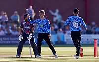 Will Beer of Sussex celebrates taking the wicket of Heino Kuhn off his own bowling during Kent Spitfires vs Sussex Sharks, Vitality Blast T20 Cricket at The Spitfire Ground on 18th July 2021