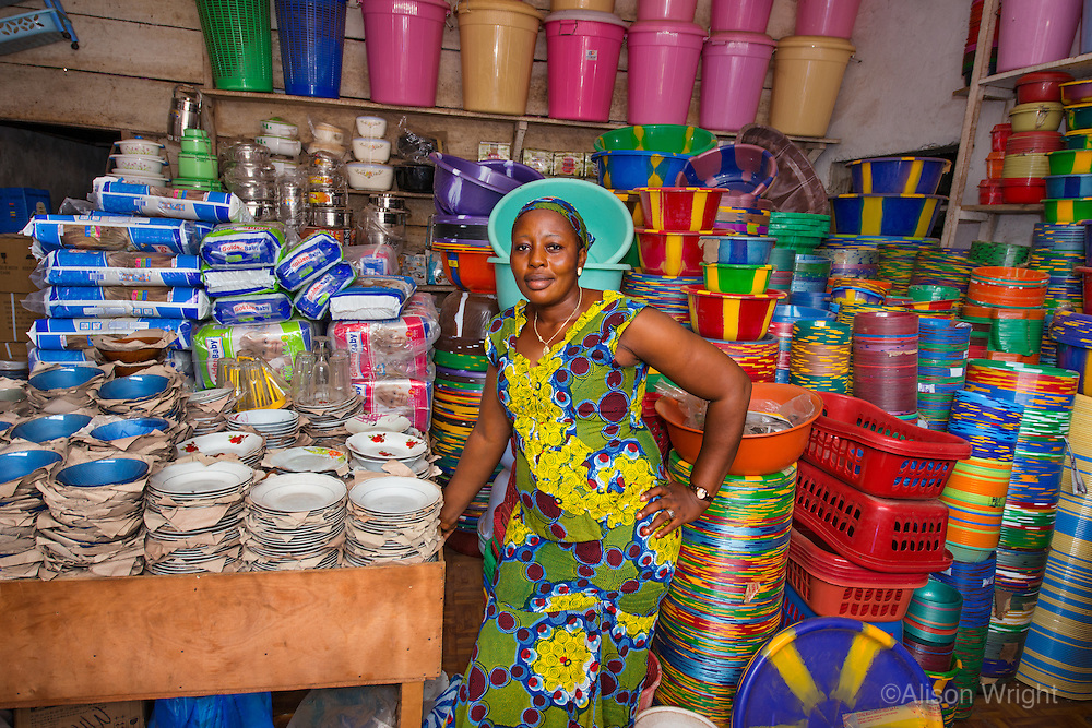 AWright_LIB_000469.jpg<br /> Liberia<br /> Gbongar Kamara received a loan from BRAC to start selling plastic goods in the Red Hill market in Liberia. She says her business is doing well and she makes about $300 per month.