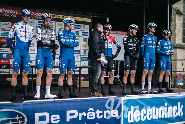 Team Deceuninck Quick Step at the pre race team presentation<br /> <br /> GP Monseré 2020<br /> One Day Race: Hooglede – Roeselare 196.8km. (UCI 1.1)<br /> Bingoal Cycling Cup 2020