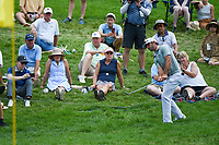 6th June 2021; Dublin, Ohio, USA; Max Homa (USA) chips from the rough to the rough near the green on 9 during the Memorial Tournament final round at Muirfield Village Golf Club