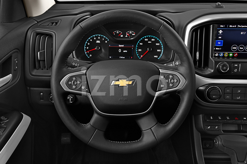 Car pictures of steering wheel view of a 2021 Chevrolet Colorado ZR2 4 Door Pick-up Steering Wheel